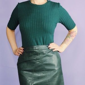 Green Ribbed Jersey Top